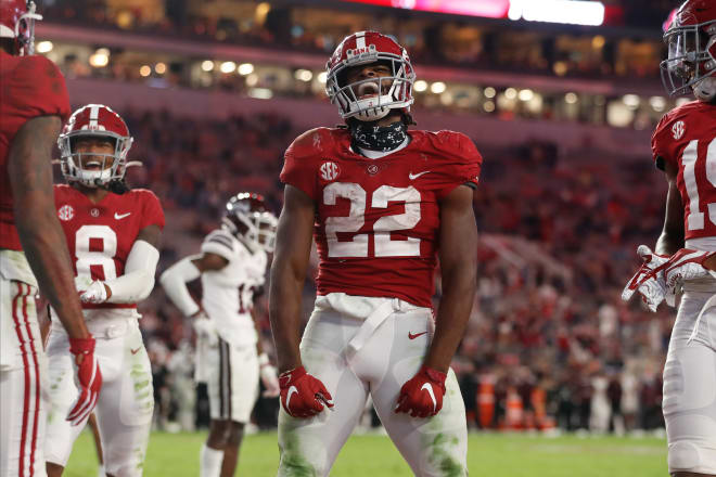 Alabama Crimson Tide running back Najee Harris celebrates following a play against Mississippi State. Photo | Getty Images