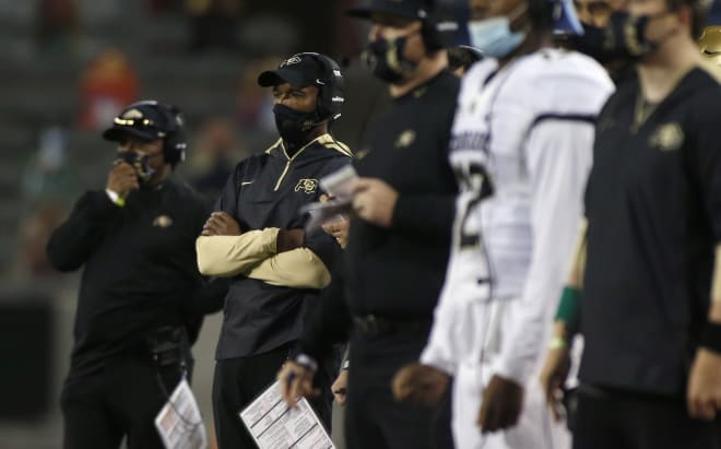 Karl Dorrell on the sidelines during Colorado's 24-13 win over Arizona on Dec. 5.