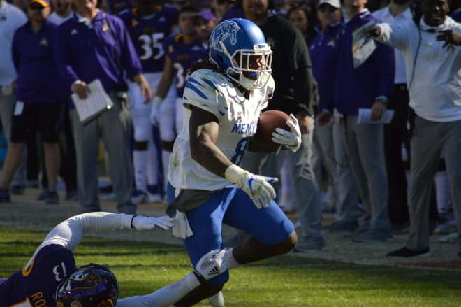 Darrell Henderson scores one of his three touchdowns on the day to lead Memphis to a 59-41 victory over ECU.