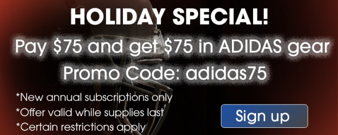 CLICK HERE TO GET A $75 ADIDAS GIFT CODE WITH YOUR NEW ANNUAL SUBSCRIPTION