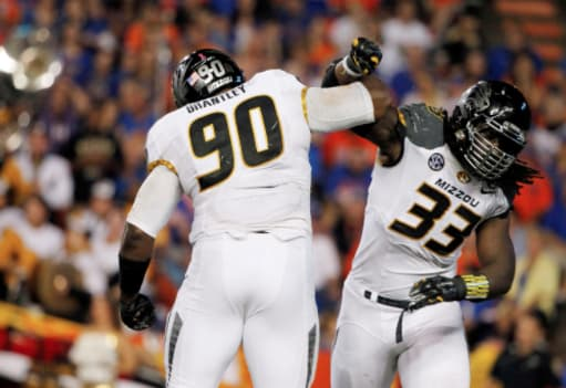 Defensive end Markus Golden (33) and the rest of the Missouri defense had plenty to celebrate during the team's 42-13 win at Florida in 2014.