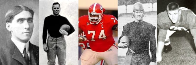 Georgia's All-Name Team has a formidable offensive line consisting of (L to R) Sandy Beaver, Bum Day, Max Jean-Gilles, Puss Whelchel, and Pud Mosteller.