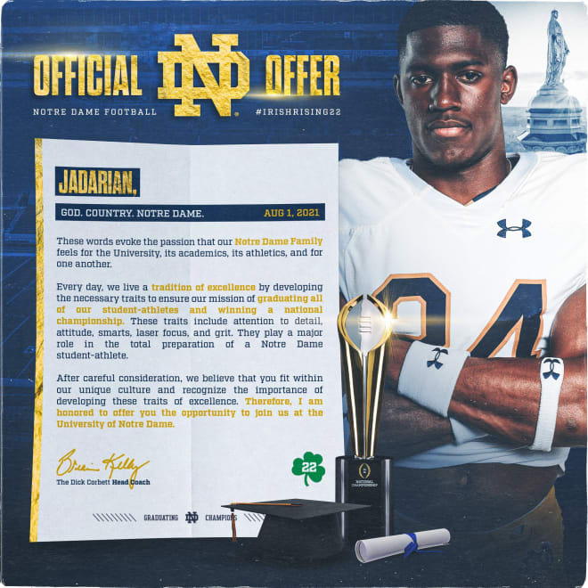 The official offer letter for Notre Dame running back commit Jadarian Price.