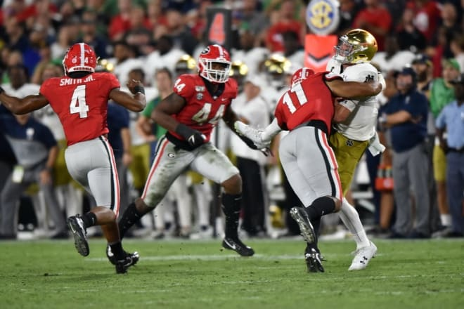(L to R) Nolan Smith, Travon Walker, and Jermaine Johnson were three of Georgia's eight defenders who totaled at least a dozen quarterback pressures in 2019. (All eight defenders return for the Bulldogs in 2020.)
