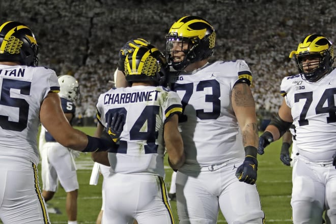 Michigan trounced Minnesota Saturday night in Minneapolis, and the offensive line helped lead the way.