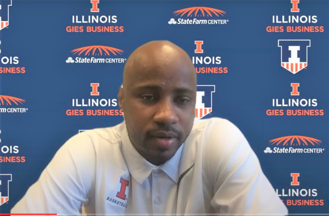 New Illini assistant coach Chester Frazier speaks to media members on Tuesday.