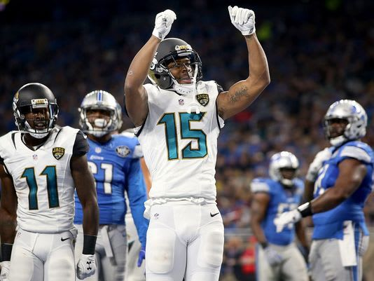 "Detroit native Allen Robinson doing the ""Blade Dance"" against the Lions last season."