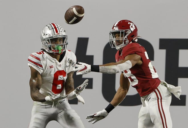 Ohio State receiver Jameson Williams (6) announced his transfer to Alabama. Photo   Getty Images