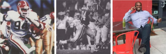 WYCLIFFE LOVELACE (L to R): As a freshman vs. Florida State in the '84 Citrus Bowl, returning an interception for a touchdown vs. Georgia Tech in 1988, and currently he has worked 30-plus years in the beverage alcohol market.