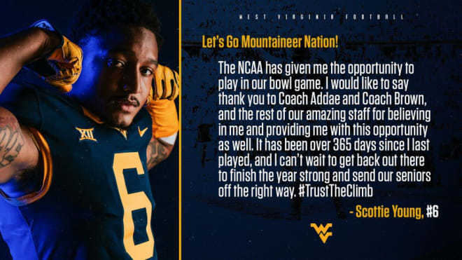 Young will make his season debut for the West Virginia Mountaineers football team.