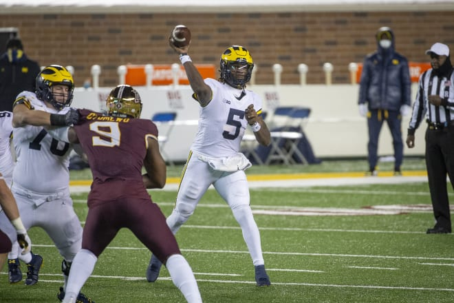 Michigan Wolverines football quarterback Joe Milton passed for a touchdown and rushed for a score in his first-ever start against Minnesota.