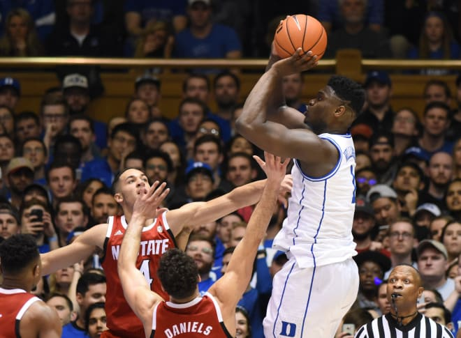 Duke freshman Zion Williamson scored 32 points in Duke's victory.