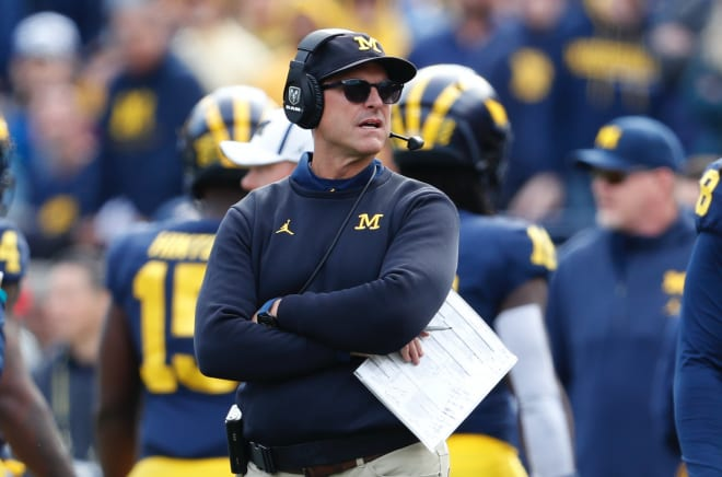 Michigan Wolverines football head coach Jim Harbaugh and his team will face Wisconsin Saturday night in Ann Arbor.
