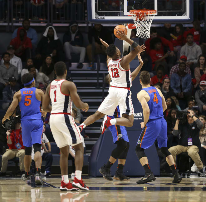 Ole Miss forward Bruce Stevens goes in for a basket during the second half of the Rebels' 78-72 win over Florida Saturday in Oxford.