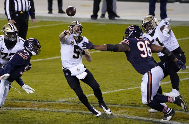 Chicago Bears defensive end Akiem Hicks (96) puts pressure on New Orleans Saints quarterback Drew Brees (9) during the fourth quarter at Soldier Field.