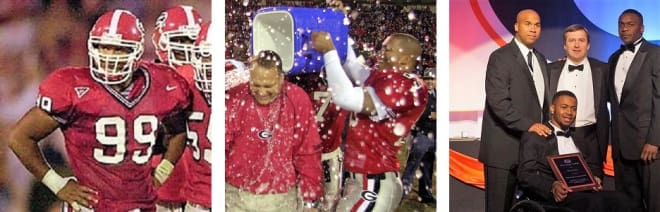 DAVID JACOBS (L to R) during a standout 2001 season, dumping water on Mark Richt following the victory over Georgia Tech in 2002, and presenting Southern's Devon Gales with the David Jacobs Award in 2016.