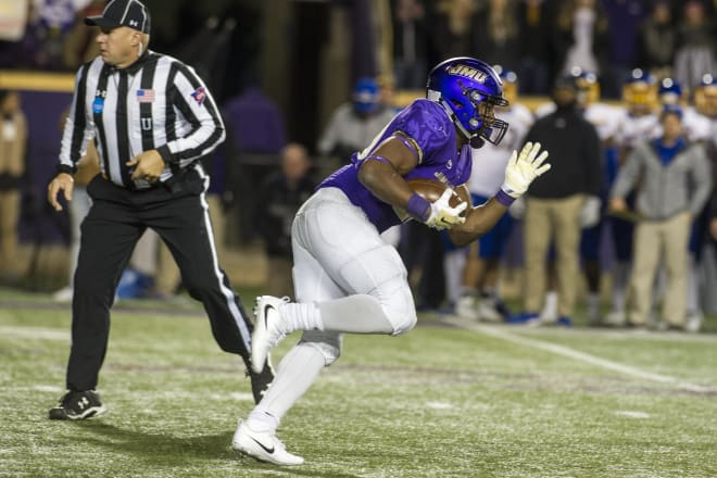 James Madison running back Marcus Marshall carries during the Dukes' 2017 FCS semifinal win over South Dakota State in Harrisonburg.