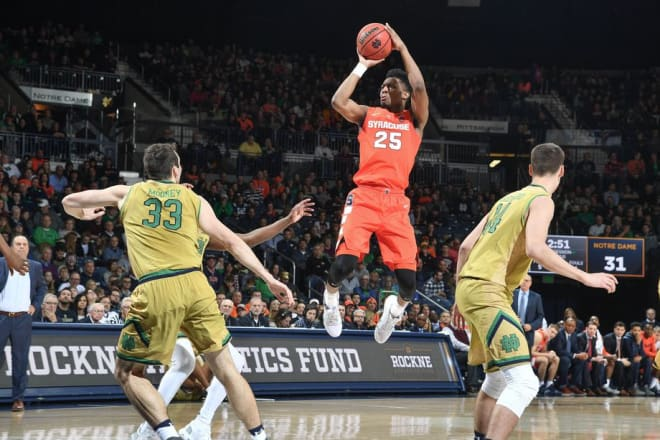 Syracuse outscored Notre Dame 35-24 in the second half to pull out a 72-62 win.