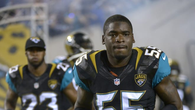 Geno Hayes, shown with the Jacksonville Jaguars, was a star linebacker for the Florida State Seminoles.