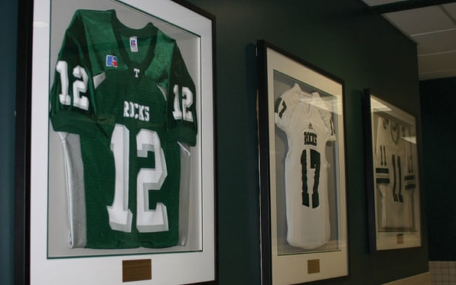 Trinity has only three retired jerseys, including Brian's No. 12 and Jeff's 11.