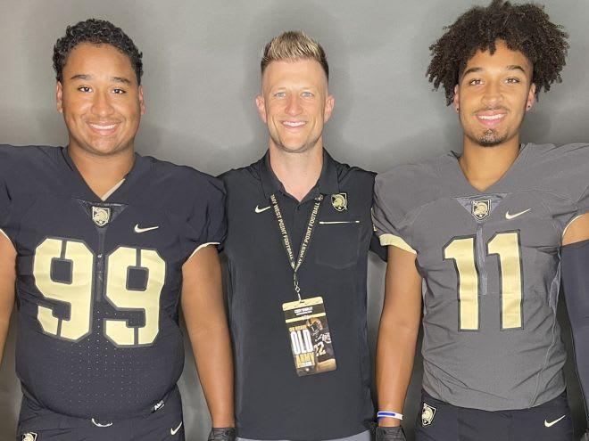 Mason Davis, Army QB Coach Cody Worley & Micheal Davis during OV