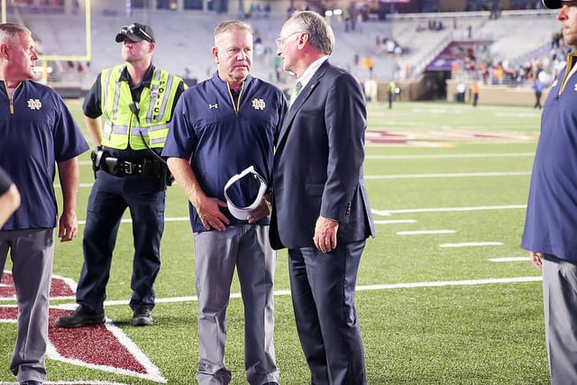 Notre Dame Fighting Irish director of athletics Jack Swarbrick with head football coach Brian Kelly
