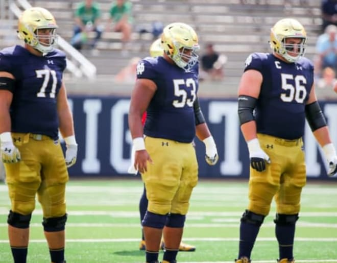 Notre Dame Fighting Irish football offensive linemen Alex Bars (71), Sam Mustipher (53) and Quenton Nelson (56)