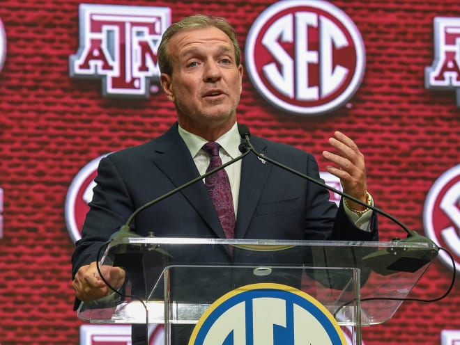JImbo Fisher made reporters laugh with his comment about Texas and Oklahoma.