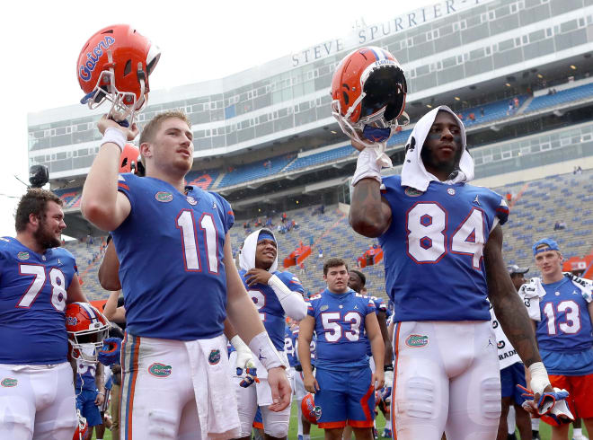 Florida quarterback Kyle Trask (left) with tight end Kyle Pitts (right).