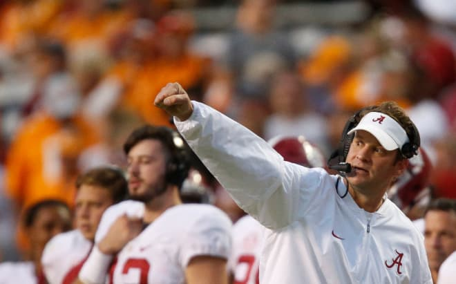 Lane Kiffin shows his enthusiasm on the sideline during Alabama's final drive at Tennessee in 2016.