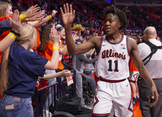 Ayo Dosunmu #11 of the Illinois Fighting Illini celebrates with fans after the game against the Indiana Hoosiers at State Farm Center on March 1, 2020 in Champaign, Illinois.