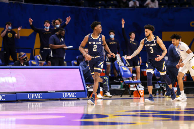 Guards Trey Wertz (2) and Prentiss Hubb (3) combined for 14 assists in a win over Pitt.