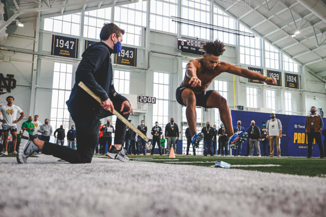 Notre Dame Fighting Irish football tight end Tommy Tremble at pro day
