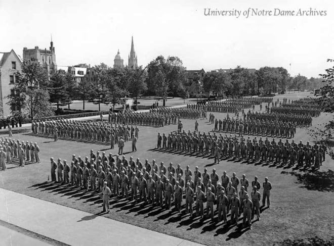 The United State Navy set up base operations at Notre Dame during World War II.