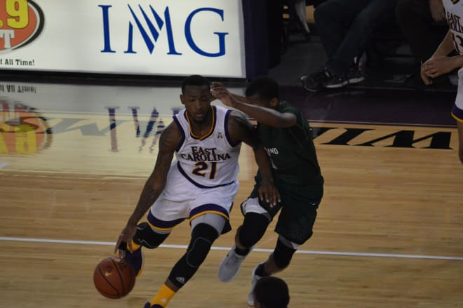 ECU's B.J. Tyson moved into seventh place all time in AAC scoring with his 25 point outburst against Cleveland State.