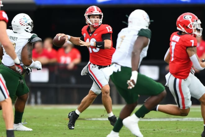 Kirby Smart said that Stetson Bennett continues to practice despite a minor lower back injury.