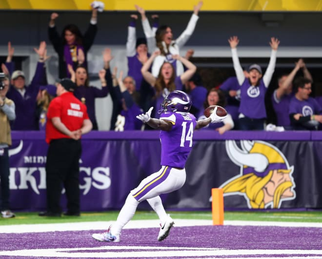 Minnesota Vikings wide receiver Stefon Diggs celebrates as he scores the game winning touchdown against the New Orleans Saints at U.S. Bank Stadium Sunday.