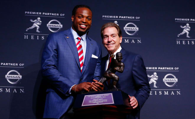 Former Alabama running back Derrick Henry is the last Doak Award winner to also claim the Heisman Trophy (Photo by Mike Stobe/Getty Images).