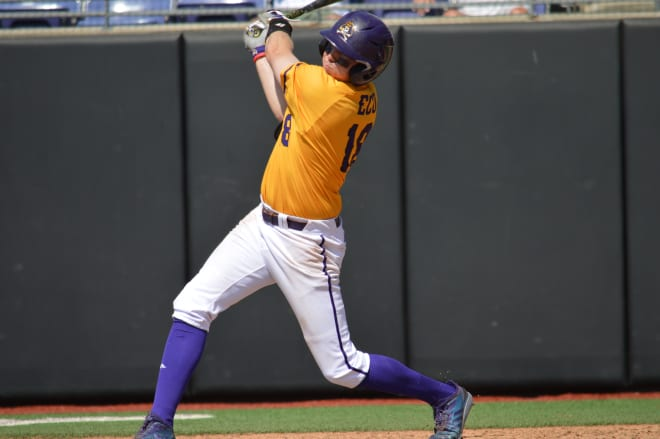 Alec Burleson knocked a pair of home runs on Saturday in ECU's 10-9 loss to Memphis to close out the regular season.