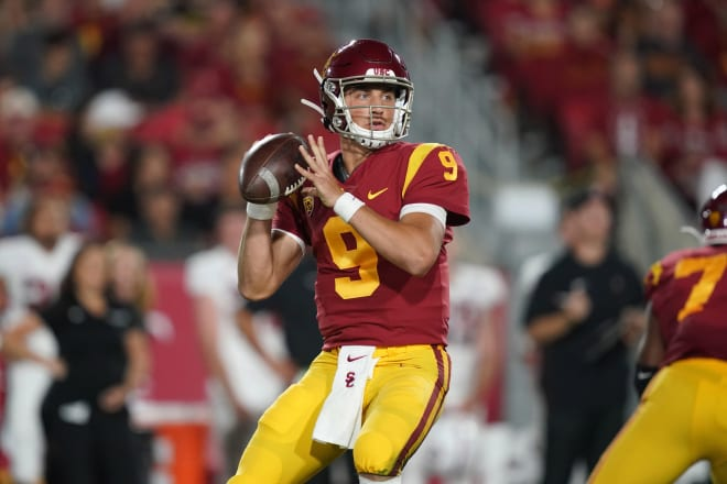 Freshman Kedon Slovis opened a lot of eyes in his first start for USC.