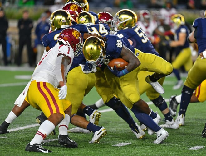 Tony Jones' Jr. bulldozed for 176 yards rushing while the Irish as a team compiled 308 on the ground in the win versus USC.