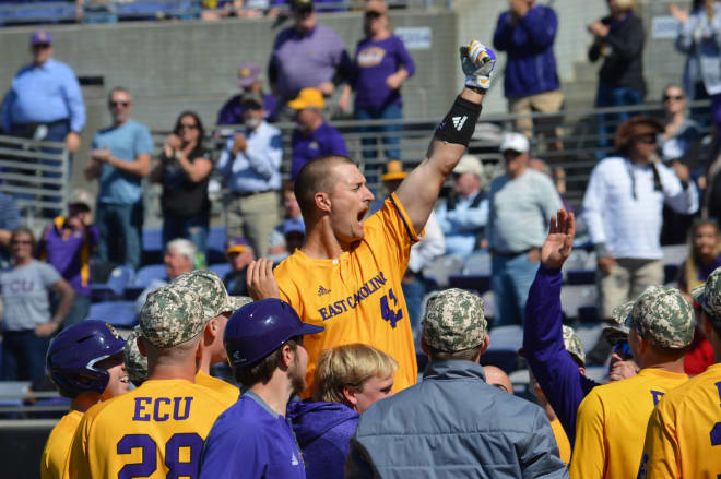 Spencer Brickhouse celebrates after his eighth inning home run in ECU's 6-5 Sunday win over UCF.