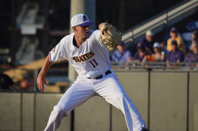 Chris Holba and ECU fall 3-2 in game one of a three-game regular season closing series at Connecticut.